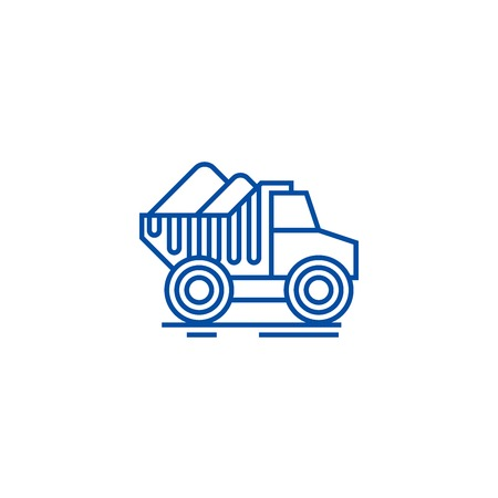 Dumper truck with sand line concept icon. Dumper truck with sand flat  vector website sign, outline symbol, illustration. 向量圖像