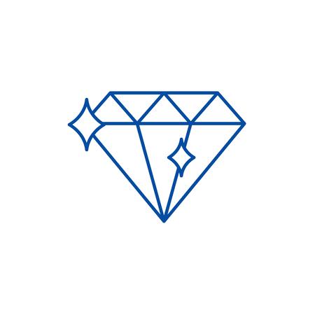 Diamond line concept icon. Diamond flat  vector website sign, outline symbol, illustration.