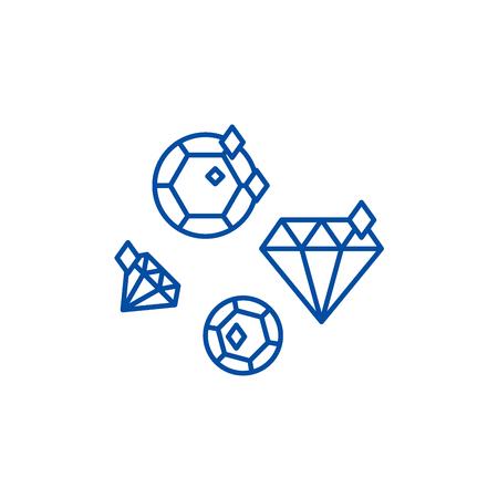 Diamonds line concept icon. Diamonds flat  vector website sign, outline symbol, illustration.