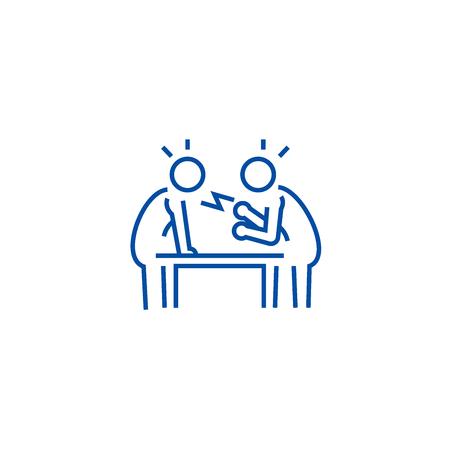 Dispute,debate,conversation line concept icon. Dispute,debate,conversation flat  vector website sign, outline symbol, illustration.