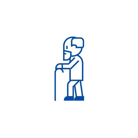 Elderly person with beard and  line concept icon. Elderly person with beard and  flat  vector website sign, outline symbol, illustration. Illustration