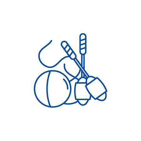 Easy gymnastics line concept icon. Easy gymnastics flat  vector website sign, outline symbol, illustration.