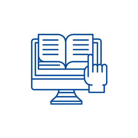 Ebooks line concept icon. Ebooks flat  vector website sign, outline symbol, illustration. 일러스트