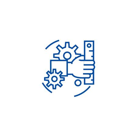 Development line concept icon. Development flat  vector website sign, outline symbol, illustration.