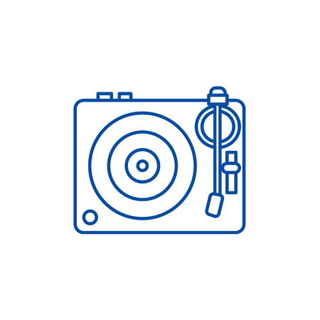Dj, vinyl,turntable line concept icon. Dj, vinyl,turntable flat  vector website sign, outline symbol, illustration.