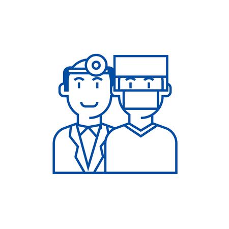 Doctors,health care,medicine insurance line concept icon. Doctors,health care,medicine insurance flat  vector website sign, outline symbol, illustration.