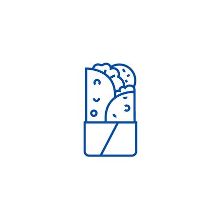 Doner kebab line concept icon. Doner kebab flat  vector website sign, outline symbol, illustration. Illustration