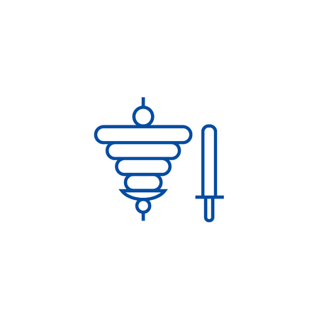 Doner kebab, fast food line concept icon. Doner kebab, fast food flat  vector website sign, outline symbol, illustration.