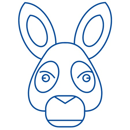 Donkey head line concept icon. Donkey head flat  vector website sign, outline symbol, illustration.