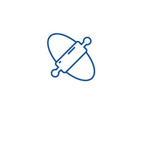 Teig Nudelholz Symbol Leitung Konzept. Teig Nudelholz flaches Vektor-Website-Zeichen, Umrisssymbol, Illustration.