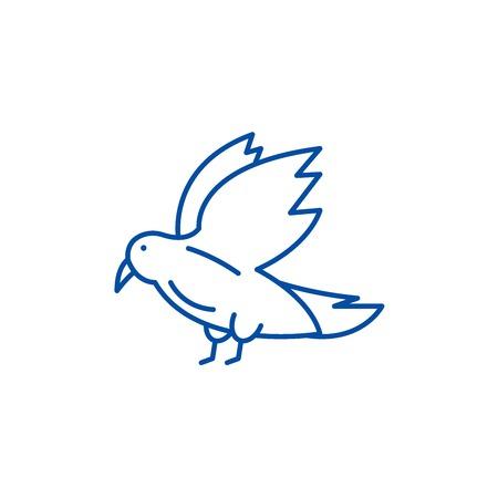 Dove line concept icon. Dove flat  vector website sign, outline symbol, illustration.