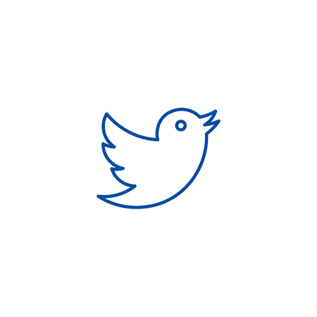 Dove,twitter line concept icon. Dove,twitter flat  vector website sign, outline symbol, illustration. Archivio Fotografico - 119742597