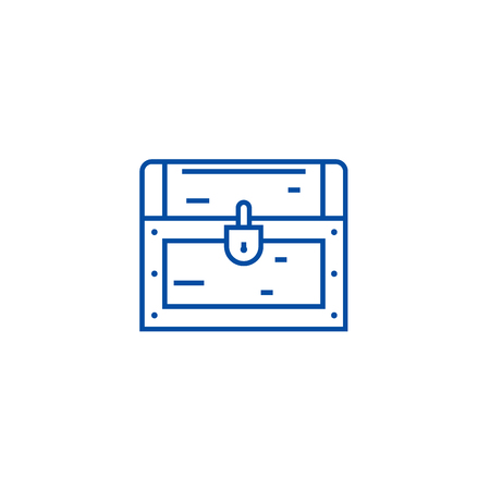 Dower chest line concept icon. Dower chest flat  vector website sign, outline symbol, illustration.