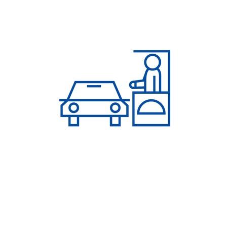Guidare attraverso l'icona del concetto di linea del ristorante. Drive thru ristorante piatto sito web del vettore segno, simbolo di contorno, illustrazione.