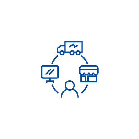 Dropshipping, drop ship,logistics line concept icon. Dropshipping, drop ship,logistics flat  vector website sign, outline symbol, illustration.