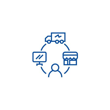 Dropshipping, drop ship,logistics line concept icon. Dropshipping, drop ship,logistics flat  vector website sign, outline symbol, illustration.