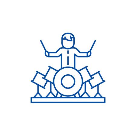 Drummer line concept icon. Drummer flat  vector website sign, outline symbol, illustration.