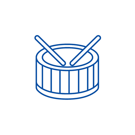 Drums line concept icon. Drums flat  vector website sign, outline symbol, illustration.