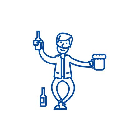 Drunk man line concept icon. Drunk man flat  vector website sign, outline symbol, illustration.