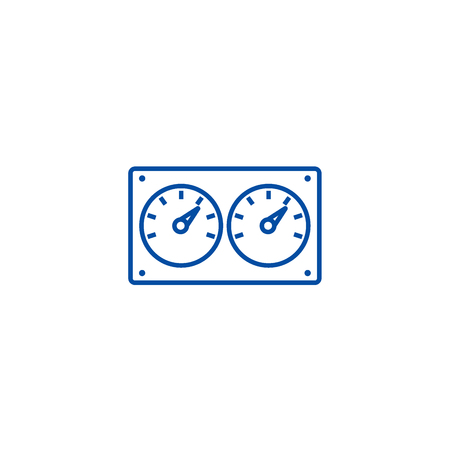 Dual control meter  line concept icon. Dual control meter  flat  vector website sign, outline symbol, illustration. Illustration