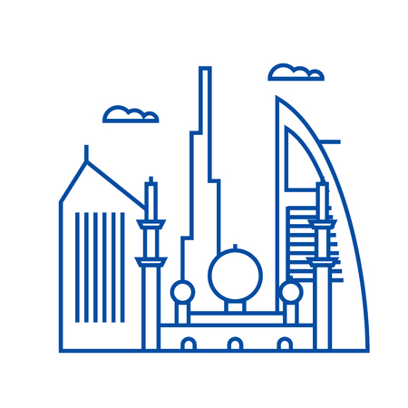 Dubai line concept icon. Dubai flat  vector website sign, outline symbol, illustration.