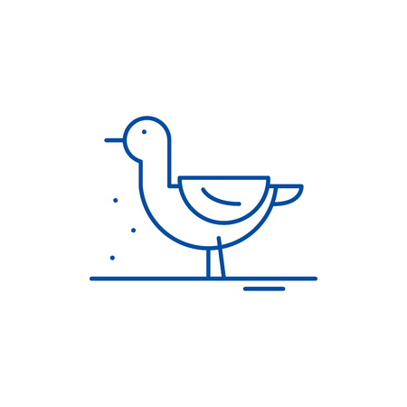 Duck line concept icon. Duck flat  vector website sign, outline symbol, illustration. Çizim