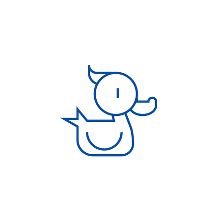 Duck toy line concept icon. Duck toy flat  vector website sign, outline symbol, illustration.