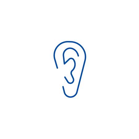 Ear line concept icon. Ear flat  vector website sign, outline symbol, illustration.