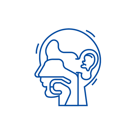 Ear, nose, and throat,ent line concept icon. Ear, nose, and throat,ent flat  vector website sign, outline symbol, illustration. 向量圖像