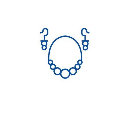 Earrings necklace line concept icon. Earrings necklace flat  vector website sign, outline symbol, illustration.
