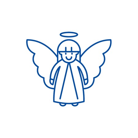 Easter angel line concept icon. Easter angel flat  vector website sign, outline symbol, illustration.