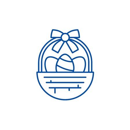 Easter basket line concept icon. Easter basket flat  vector website sign, outline symbol, illustration.