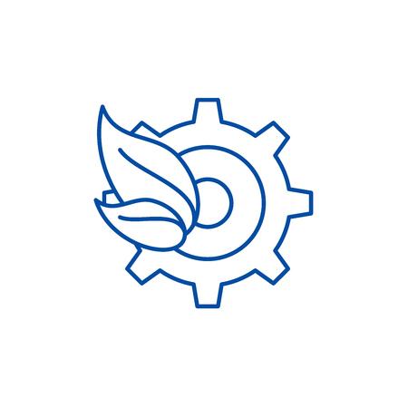 Eco trends line concept icon. Eco trends flat  vector website sign, outline symbol, illustration.