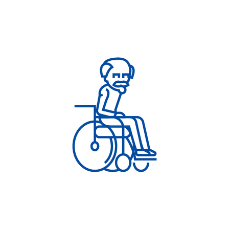 Elder man in wheelchair line concept icon. Elder man in wheelchair flat  vector website sign, outline symbol, illustration.