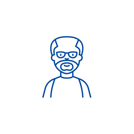 Elder man,grandfather line concept icon. Elder man,grandfather flat  vector website sign, outline symbol, illustration. Stock Vector - 119742869