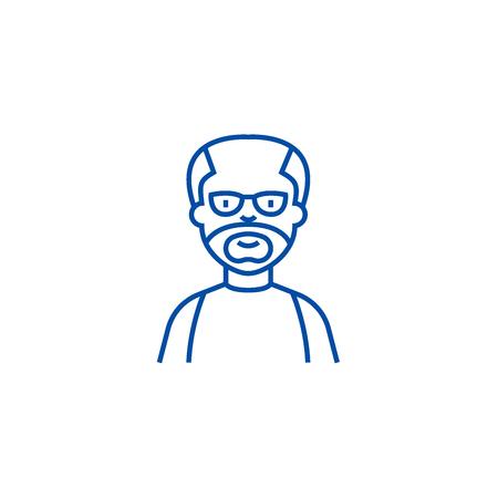 Elder man,grandfather line concept icon. Elder man,grandfather flat  vector website sign, outline symbol, illustration. Illustration
