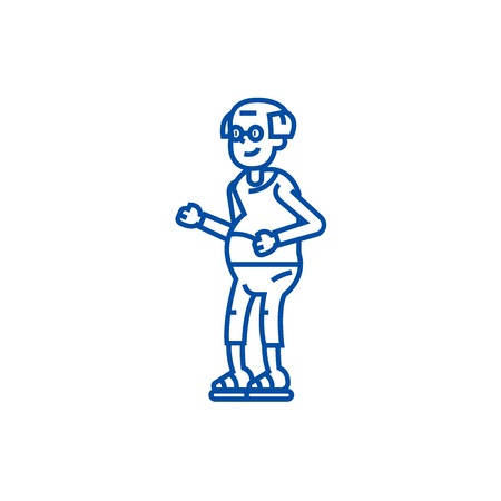 Elderly man,grandfather line concept icon. Elderly man,grandfather flat  vector website sign, outline symbol, illustration.