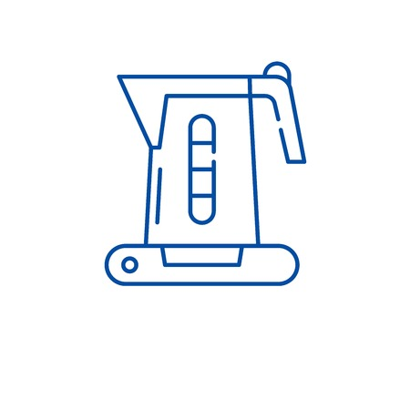 Electric kettle line concept icon. Electric kettle flat  vector website sign, outline symbol, illustration.