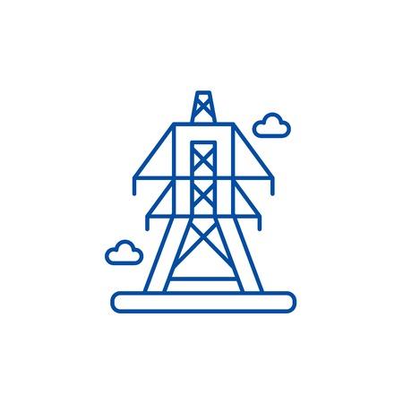 Icône de concept de ligne de lignes électriques. Lignes électriques télévision vector signe site Web, symbole du contour, illustration.