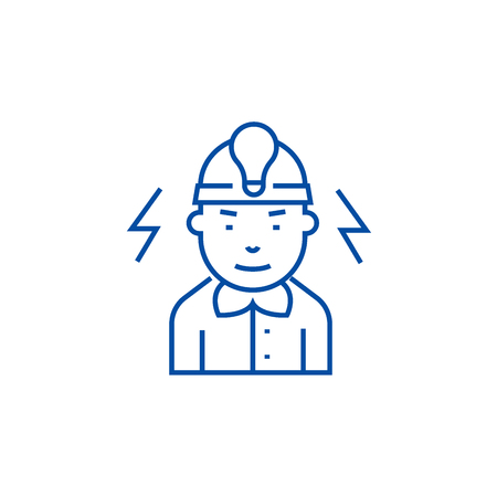 Electrician line concept icon. Electrician flat  vector website sign, outline symbol, illustration. Иллюстрация