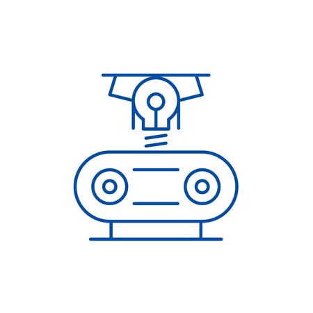 Electrogeneration line concept icon. Electrogeneration flat  vector website sign, outline symbol, illustration. Illustration