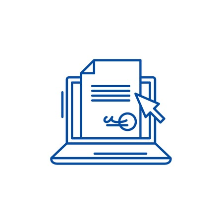 Electronic signature of the contract line concept icon. Electronic signature of the contract flat  vector website sign, outline symbol, illustration. Stok Fotoğraf - 119742998