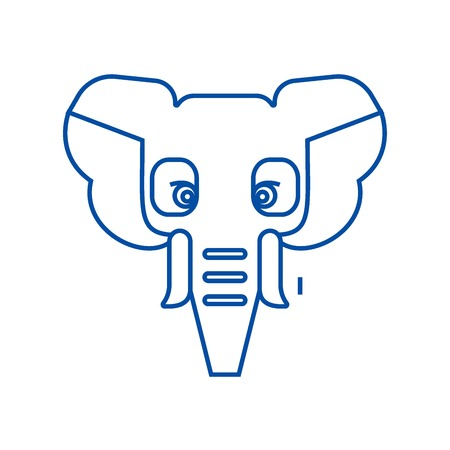 Elephant head line concept icon. Elephant head flat  vector website sign, outline symbol, illustration.