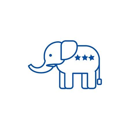 Elephant usa,republican party line concept icon. Elephant usa,republican party flat vector website sign, outline symbol, illustration. Vector Illustration