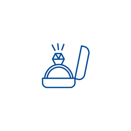 Engagement ring line concept icon. Engagement ring flat  vector website sign, outline symbol, illustration. Illustration