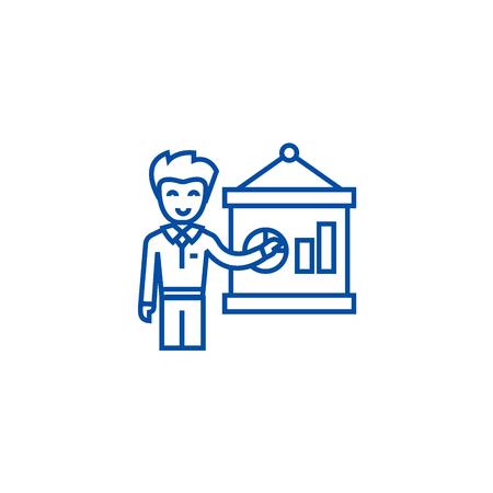 Entrepreneur presenting startup  line concept icon. Entrepreneur presenting startup  flat  vector website sign, outline symbol, illustration. Illustration