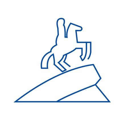 Equestrian horse statue line concept icon. Equestrian horse statue flat  vector website sign, outline symbol, illustration.