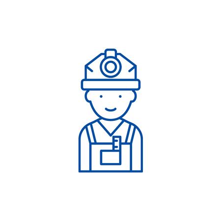 Engineer line concept icon. Engineer flat  vector website sign, outline symbol, illustration. Standard-Bild - 119743129