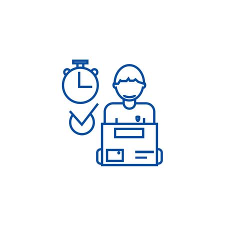 Express delivery,courier service,order box line concept icon. Express delivery,courier service,order box flat  vector website sign, outline symbol, illustration.