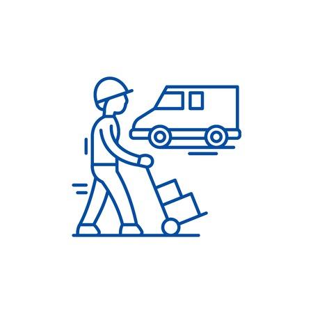 Express logistics line concept icon. Express logistics flat  vector website sign, outline symbol, illustration.